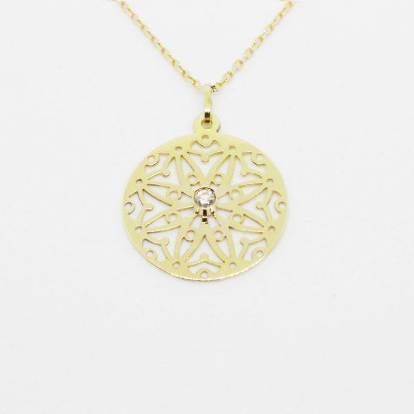Colar Ouro com Diamante. Ref: JP0841